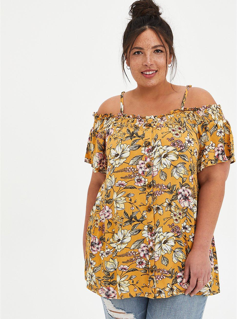 Plus Size Yellow Floral Gauze Smocked Cold Shoulder Blouse, FLORALS-YELLOW, hi-res