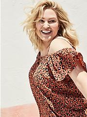 Plus Size Lace-Up Cold Shoulder Blouse - Georgette Leopard Brown, , alternate