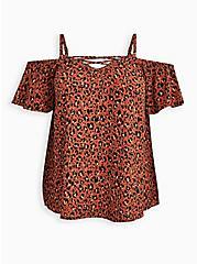Plus Size Lace-Up Cold Shoulder Blouse - Georgette Leopard Brown, , hi-res