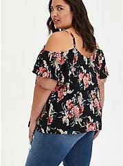 Lace-Up Cold Shoulder Blouse - Georgette Floral Black, , alternate