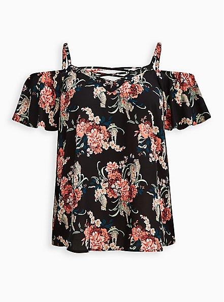 Lace-Up Cold Shoulder Blouse - Georgette Floral Black, , hi-res