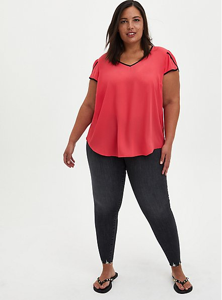 Plus Size Berry Georgette Tulip Sleeve Blouse, TEABERRY, alternate