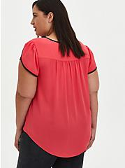 Berry Georgette Tulip Sleeve Blouse, TEABERRY, alternate