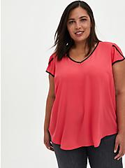 Berry Georgette Tulip Sleeve Blouse, TEABERRY, hi-res