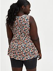 Ditsy Floral Textured Stretch Rayon Tiered Tank, , alternate