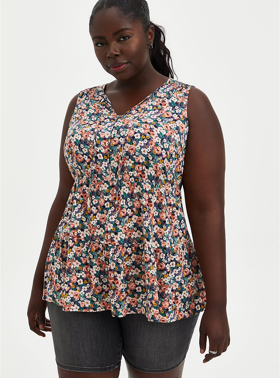 Ditsy Floral Textured Stretch Rayon Tiered Tank, , hi-res