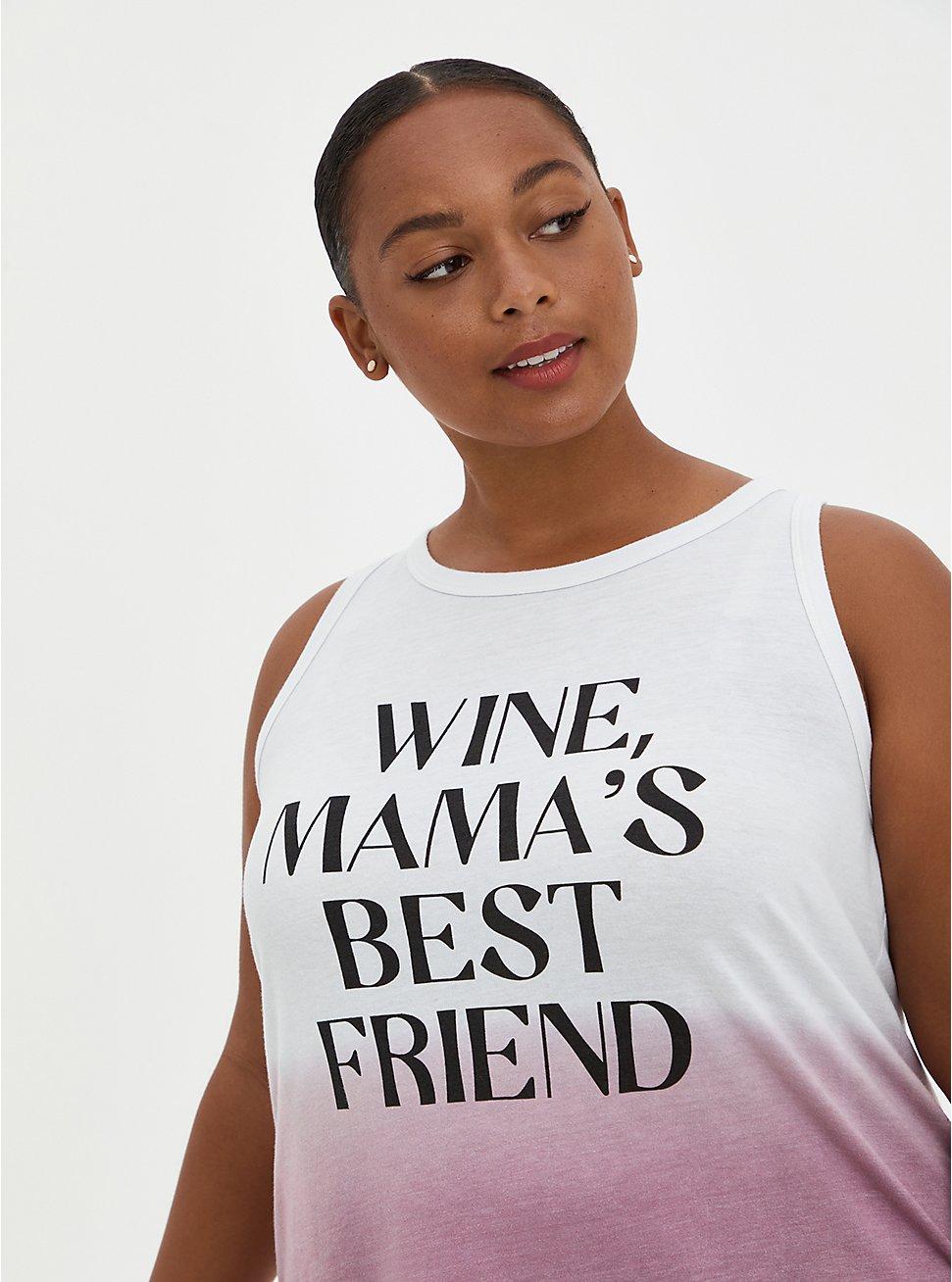 Plus Size Classic Fit High Neck Tank - Wine Friend Dip-Dye Mauve, MAUVE, hi-res