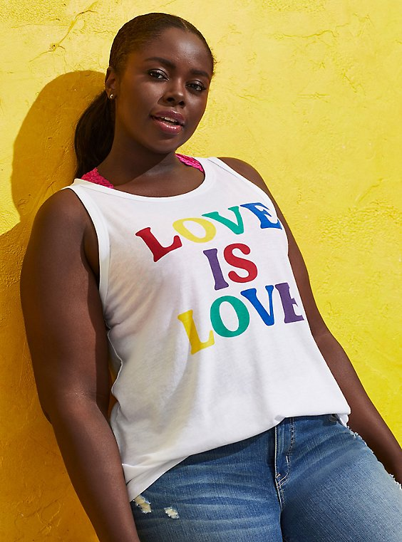 Celebrate Love Classic Fit Tank - Love is Love White, BRIGHT WHITE, hi-res