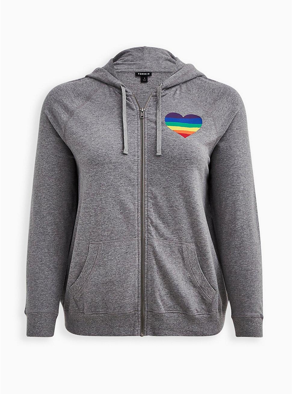 Celebrate Love Zip-Up Hoodie - Rainbow Heart Grey, MEDIUM HEATHER GREY, hi-res