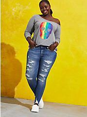Celebrate Love Off-Shoulder Sweatshirt - Rainbow Skull Grey, MEDIUM HEATHER GREY, alternate