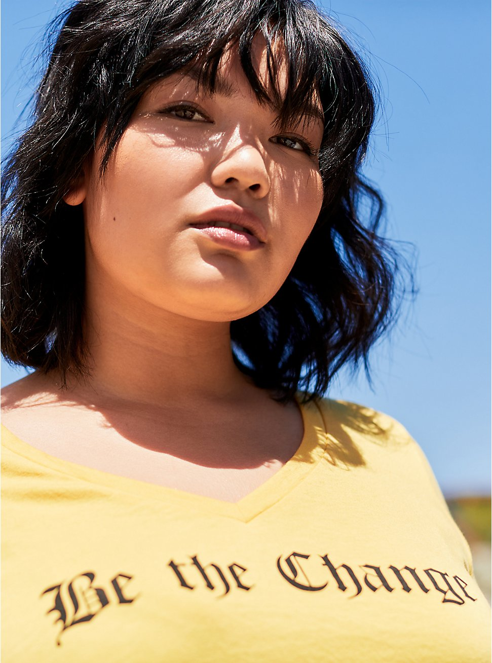 Plus Size Classic Fit V-Neck Tee – Be The Change Yellow, MINERAL YELLOW, hi-res