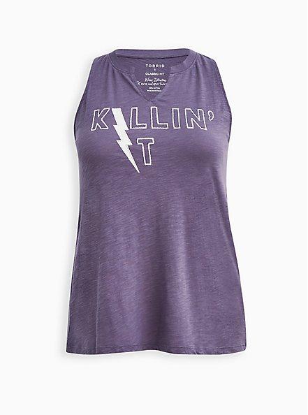 Classic Fit Split Neck Tank - Killin' It Purple, CADET BLUES, hi-res