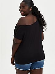 Lattice Off Shoulder Tee - Heritage Slub Lips Black, DEEP BLACK, alternate
