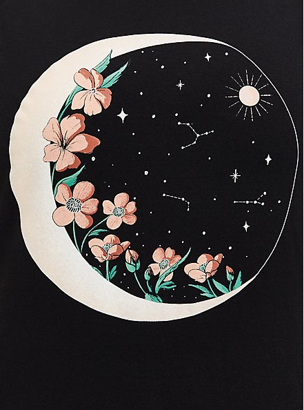 Classic Fit Cold Shoulder Tee – Floral Moon Black, DEEP BLACK, alternate