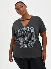 Slim Fit Choker Tee - Aerosmith Vintage Black, DEEP BLACK, hi-res