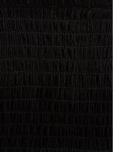 Black Embroidered Crinkle Gauze Babydoll, DEEP BLACK, alternate