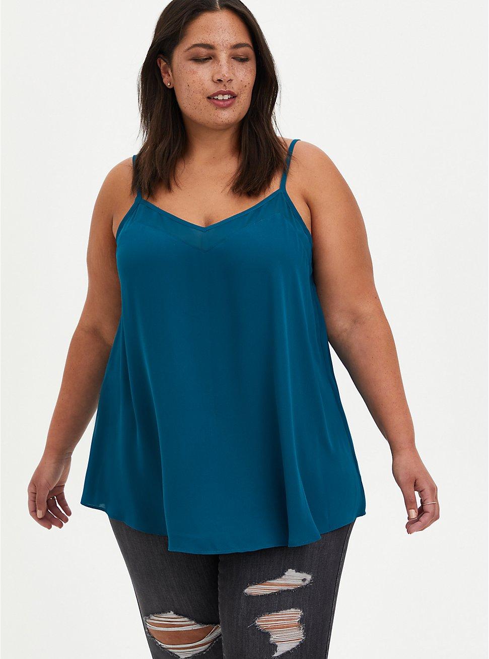 Sophie Cami - Chiffon Inset Georgette Teal, BLUE, hi-res