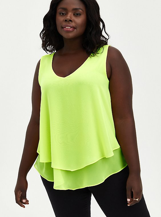 Double Layer Tank - Chiffon Neon Lime, SUNNY LIME, hi-res