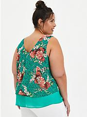 Green Floral Double Layer Chiffon Tank, FLORAL - GREEN, alternate