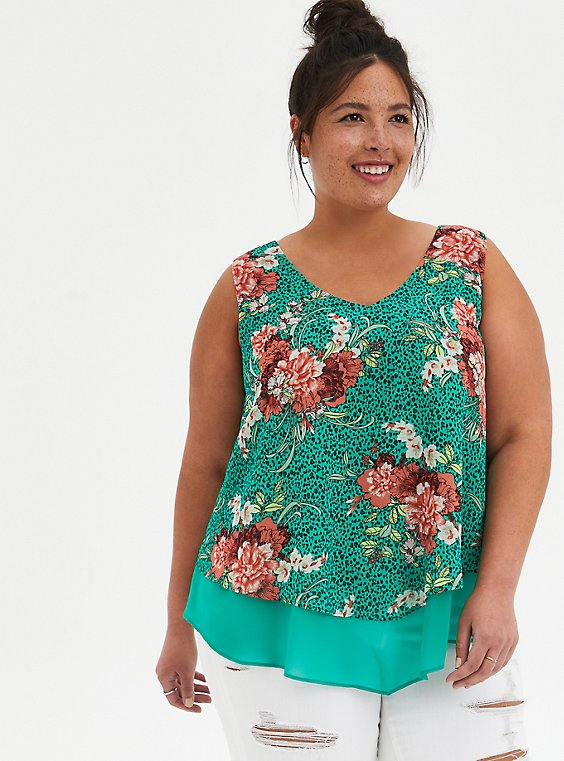 Green Floral Double Layer Chiffon Tank, , hi-res
