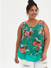 Green Floral Double Layer Chiffon Tank, FLORAL - GREEN, hi-res