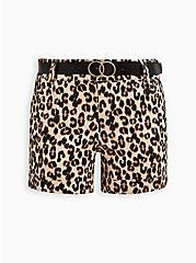 Leopard Belted Sateen Short, OTHER PRINTS, hi-res