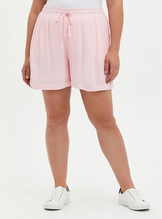 Pink Crinkle Gauze Pull On Short, ALMOND BLOSSOM, hi-res