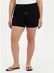 Plus Size Black Ponte Pull On Short, DEEP BLACK, hi-res