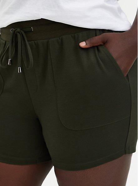 Plus Size Olive Ponte Pull On Short, ROSIN, alternate