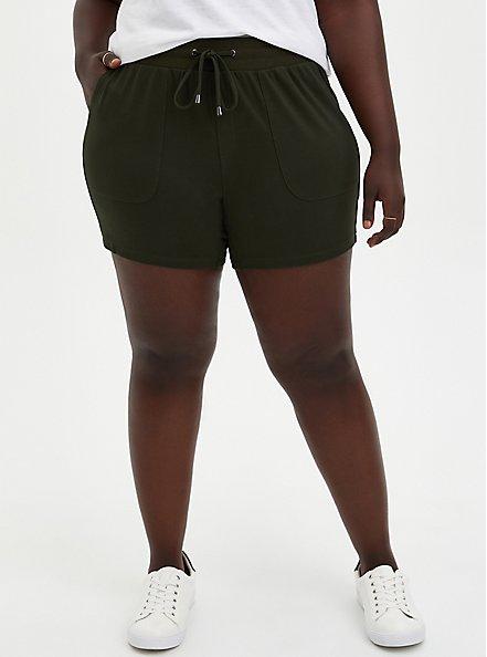 Plus Size Olive Ponte Pull On Short, ROSIN, hi-res