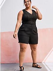 Pleated Linen Bermuda - Black, DEEP BLACK, alternate