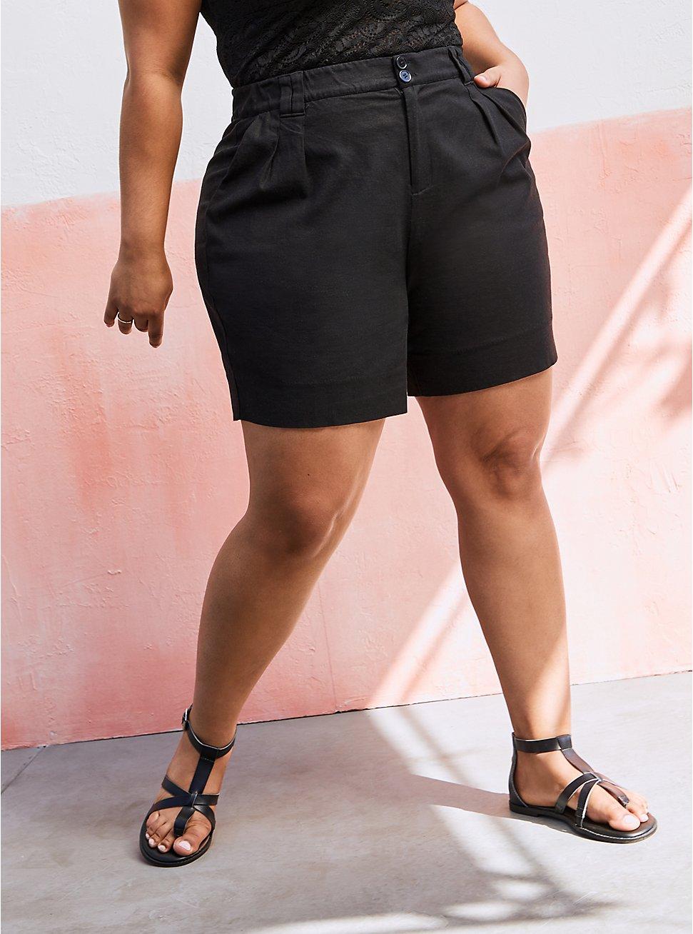 Pleated Linen Bermuda - Black, DEEP BLACK, hi-res