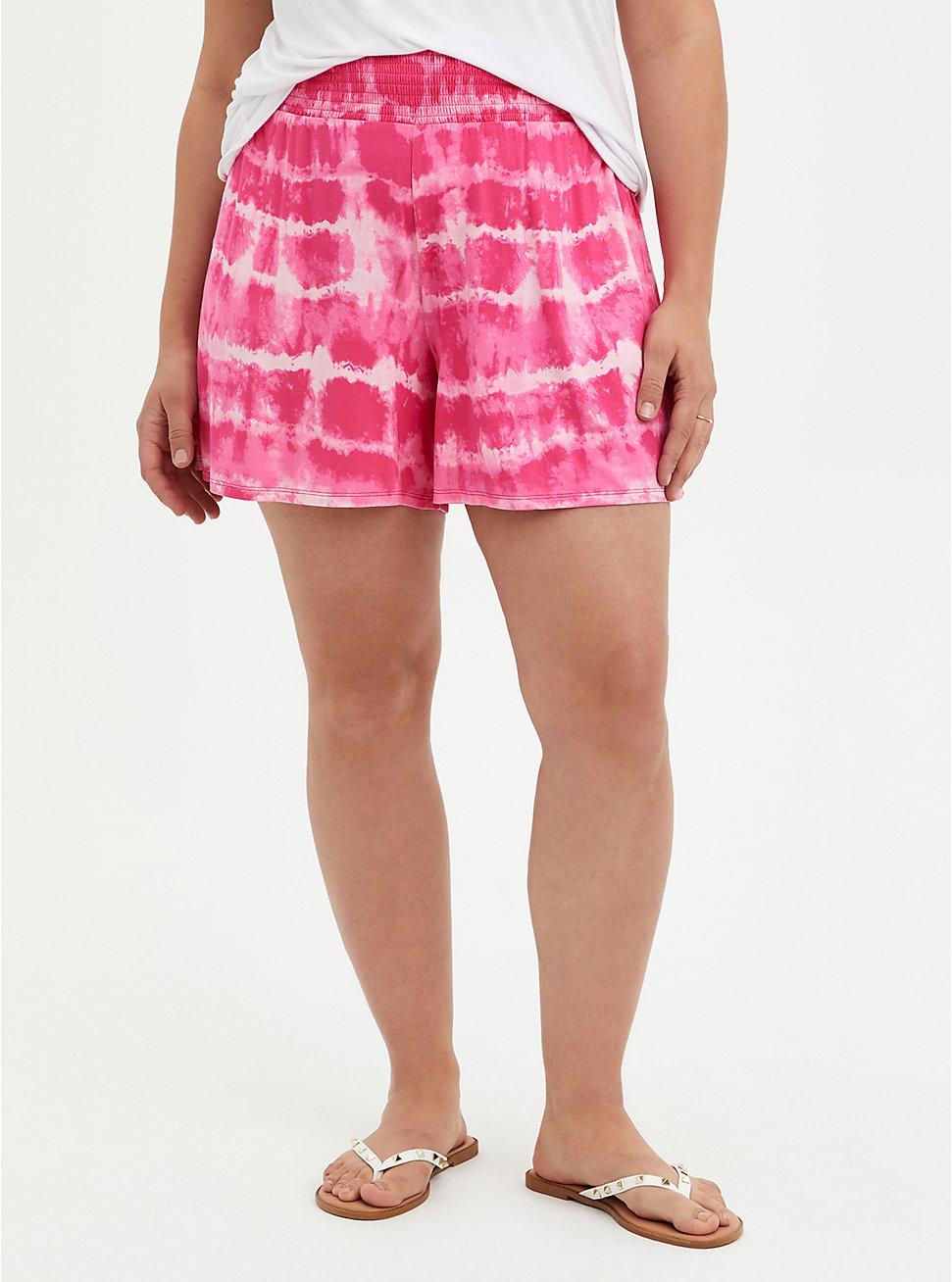Plus Size Super Soft Pink Tie Dye Short, TIE DYE, hi-res
