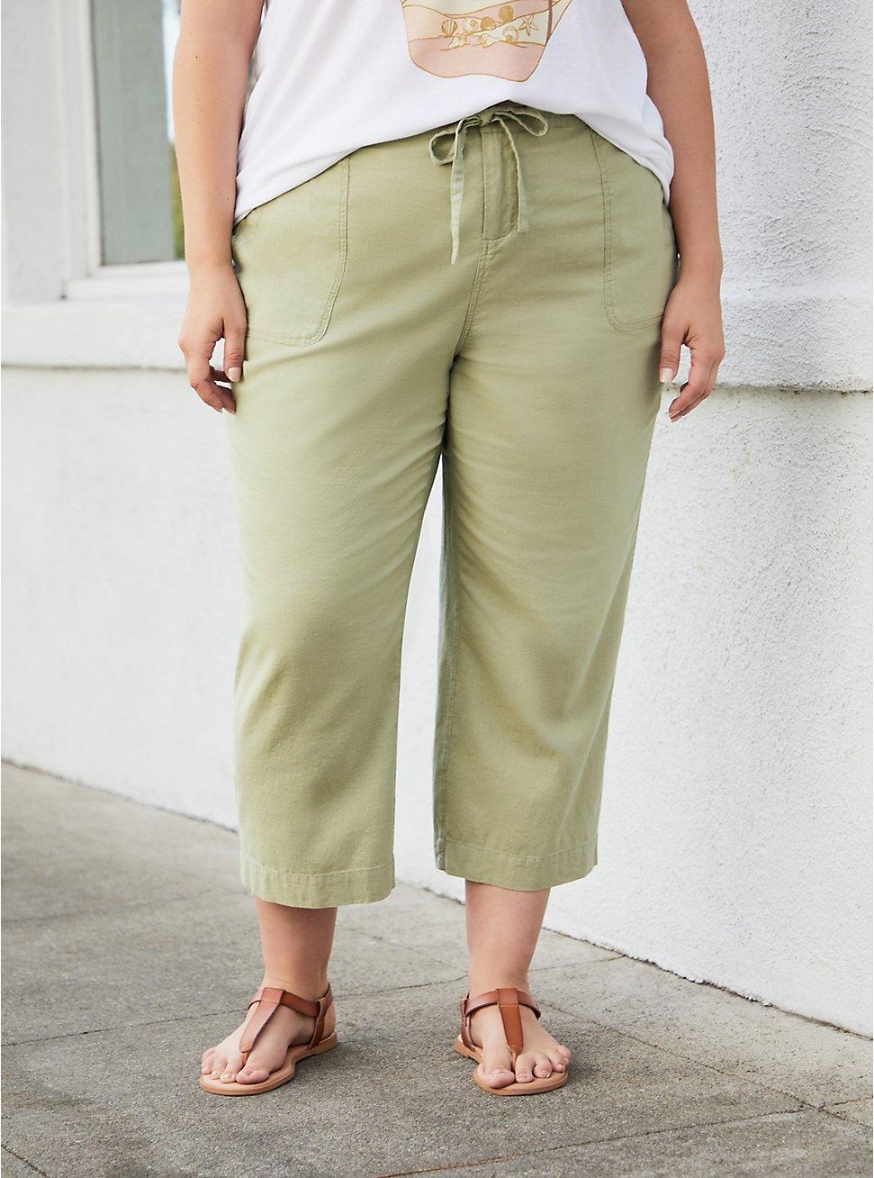 Green Utility Linen Crop Wide Leg Pant, TEA, hi-res