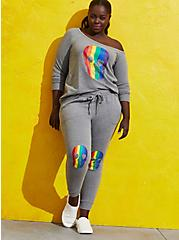 Plus Size Celebrate Love Jogger - French Terry Grey Rainbow Skull, OTHER PRINTS, alternate