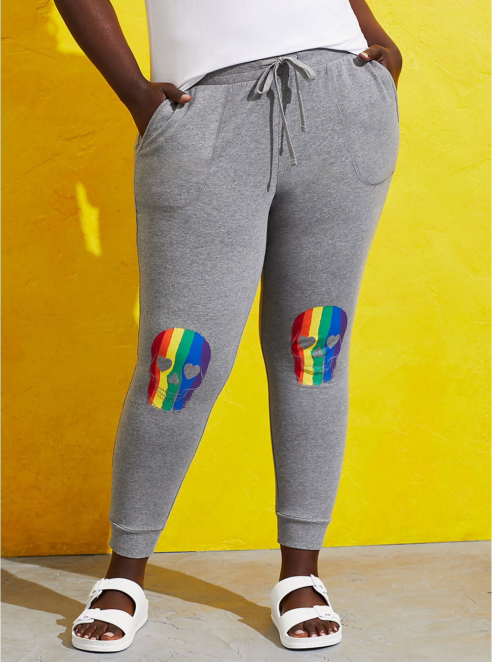 Plus Size Celebrate Love Jogger - French Terry Grey Rainbow Skull, OTHER PRINTS, hi-res