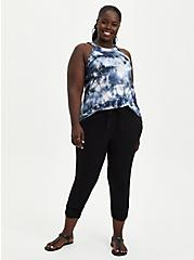 Relaxed Fit Ruched Jogger - Stretch Challis Black, DEEP BLACK, alternate