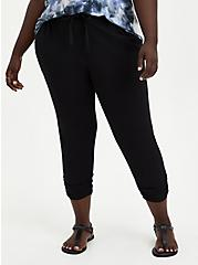 Relaxed Fit Ruched Jogger - Stretch Challis Black, DEEP BLACK, hi-res