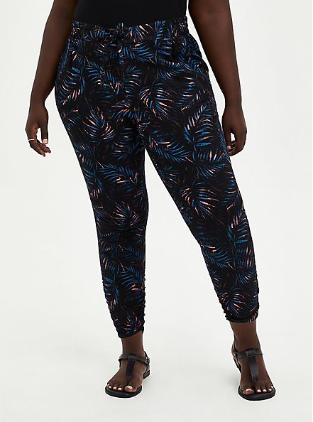Relaxed Fit Ruched Jogger - Stretch Challis Palms Black, OTHER PRINTS, hi-res