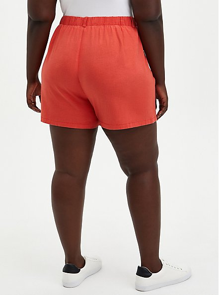 Red Button Fly Linen Short, RED, alternate