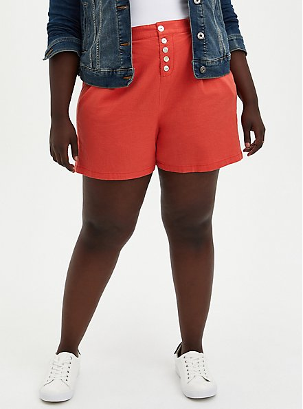 Red Button Fly Linen Short, RED, hi-res