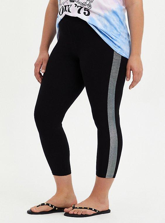 Crop Premium Legging Dotted Side Stripe - Black, , hi-res