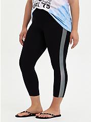 Crop Premium Legging Dotted Side Stripe - Black, BLACK, hi-res