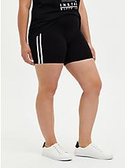 Plus Size Black Side Stripe Bike Short, BLACK, hi-res