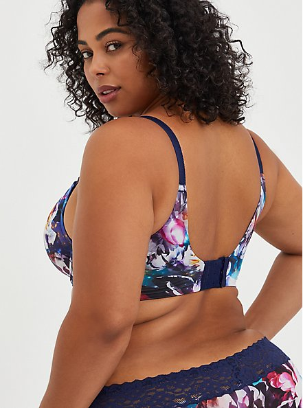 XO Push-Up Plunge Bra - Galaxy Blue with 360° Back Smoothing™ , FLORAL IN GALAXY, alternate