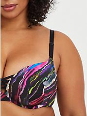 XO Push-Up Plunge Bra - Painted Stripes Black with 360° Back Smoothing™ , SOUNDWAVE PAINTED STRIPES, alternate