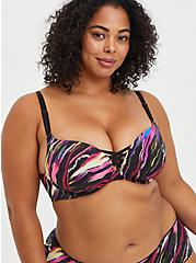 XO Push-Up Plunge Bra - Painted Stripes Black with 360° Back Smoothing™ , SOUNDWAVE PAINTED STRIPES, hi-res
