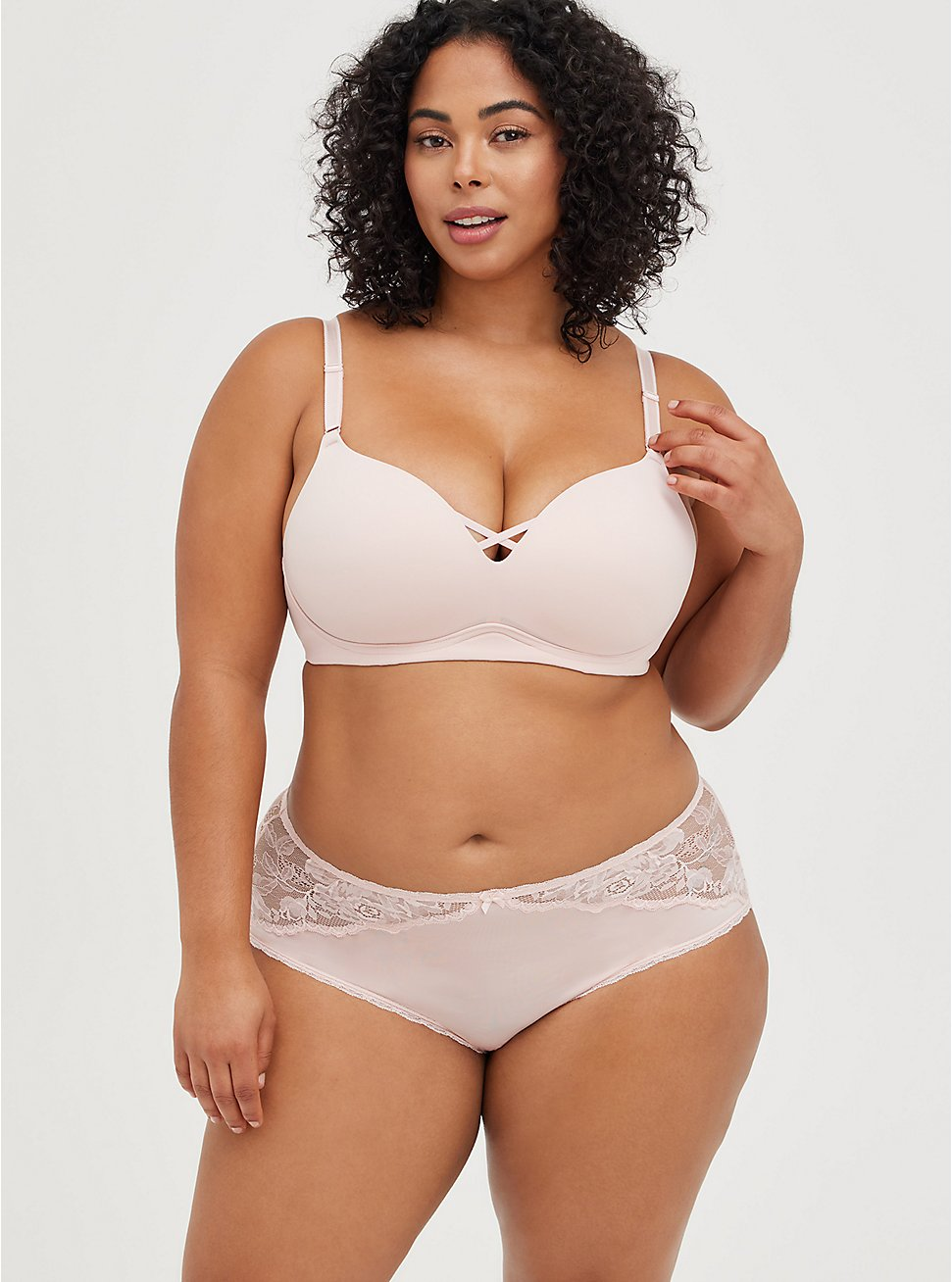 Plus Size Breast Cancer Awareness Push-Up Wirefree Bra - Pink with 360° Back Smoothing™, LOTUS PINK, hi-res