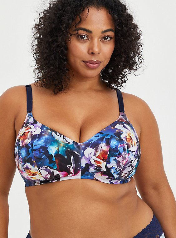Lightly Lined Wire-Free Bra - Galaxy Blue with 360° Back Smoothing™ , FLORAL IN GALAXY, hi-res