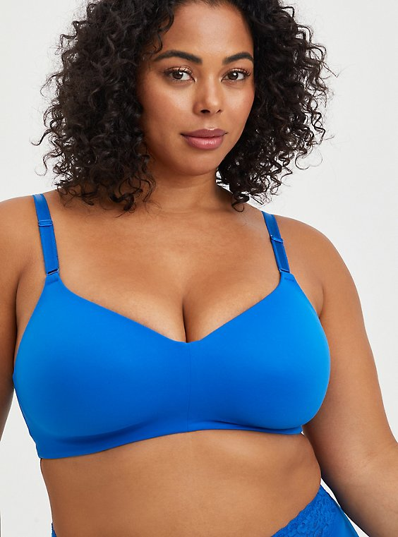 Lightly Lined Wire-Free Bra - Blue with 360° Back Smoothing™ , LAPIS BLUE, hi-res